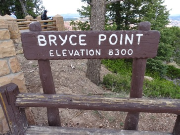 Bryce Point sign Bryce Canyon