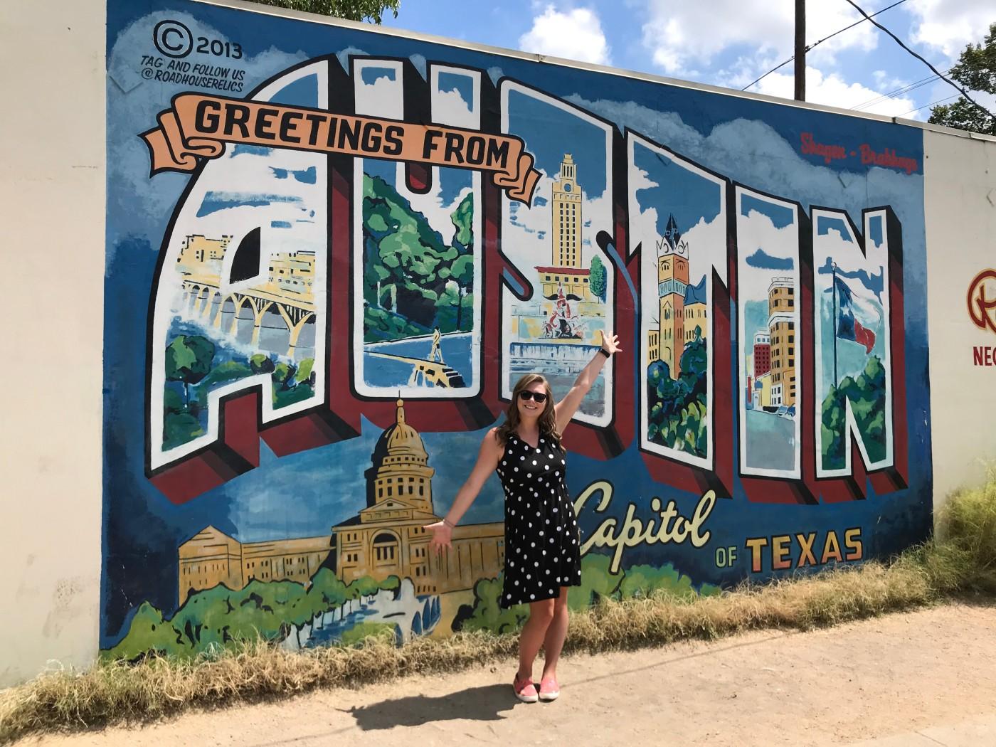 Greetings from Austin mural graffiti capitol of Texas postcard
